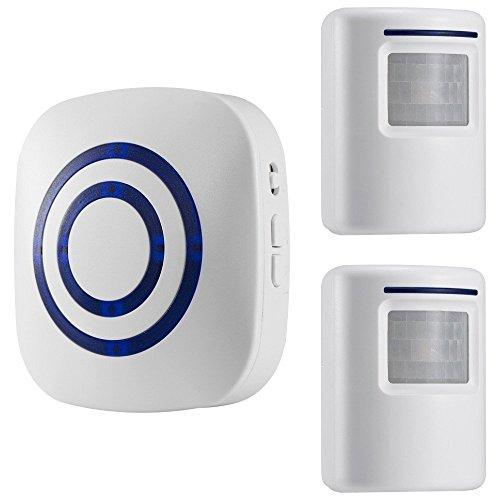 GZCRDZ inalámbrico entrada alerta: Sensor de movimiento por infrarrojos timbre alarma timbre inalámbrico con 2 Sensor y 1 receptor - timbre canciones - Indicadores LED