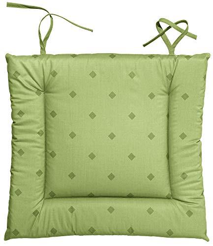 Erwin Müller abwaschbares Stuhlkissen, Sitzkissen mit Bindeband Neuss im Rautendesign, grün Größe 38x41 cm - acrylversiegeltes Gewebe für leichtes Wischen (weitere Farben)