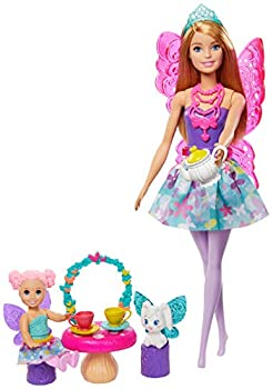Barbie Dreamtopia Tea Party Playset with Barbie Fairy Doll Toddler Doll Tea Set Pet and Accessories Multi
