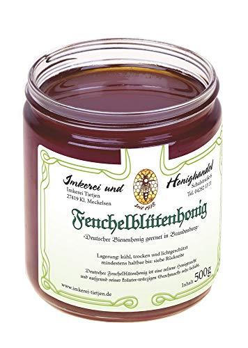 Echter Fenchel Blütenhonig 500g (ohne Fenchelzusatz) - kräuterwürzig, naturbelassener Honig (von Imkerei Nordheide) | Deutscher Honig vom Imker