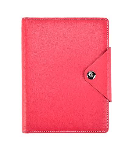 Arpan A5 Executive Personal Organizer, liniert, Notizbuch, gepolsterter Ledereinband mit Druckknopfverschluss, Hot Pink