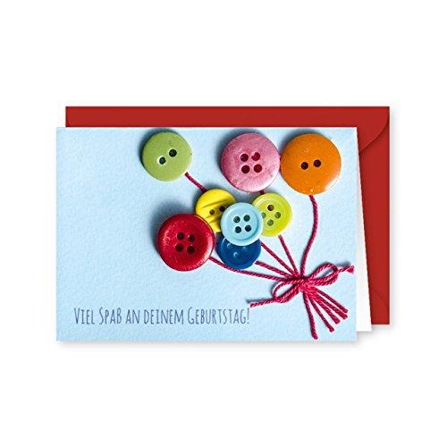 Knopfkarte 59 - Viel Spaß - Geburtstagskarte - Mini-Karte