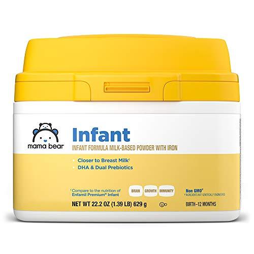 Amazon Brand - Mama Bear Milk-Based Powder Infant Formula with Iron, Non-GMO, 22.2 Ounce