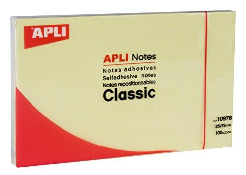 APLI 10976 - Notas adhesivas CLASSIC 125 x 75 mm bloc de 100 hojas color amarillo