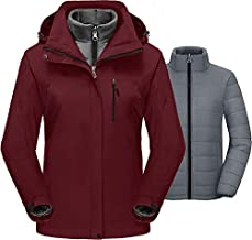 MORCOE Women's 3 in 1 Waterproof Ski Jacket Windproof Parka Mountain Outerwear Raincoat with Removable Puffer Inner Snow Coat(Wine Red,L)