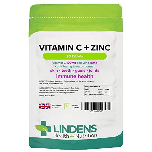 Vitamin C + Zinc - Contributes to Normal Skin, Teeth, Gums, Immune System & Joints - 90 Tablets for 3 Months' Supply