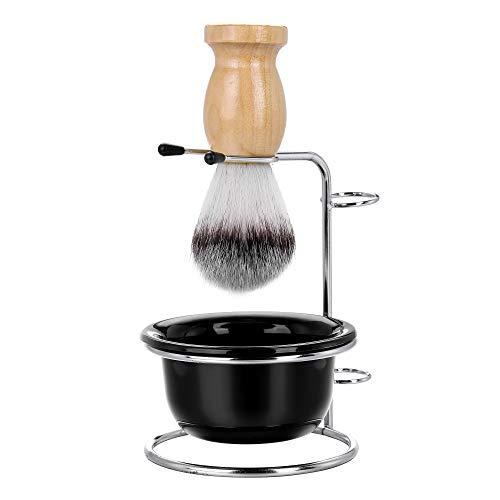 CCbeauty Men's Shaving Set, Stainless Steel Shaving Razor&Brush Holder Soap Bowl Mug Badger Hair Beard Brush Father's Day Gifts Dad Birthday Gift from Daughter Son