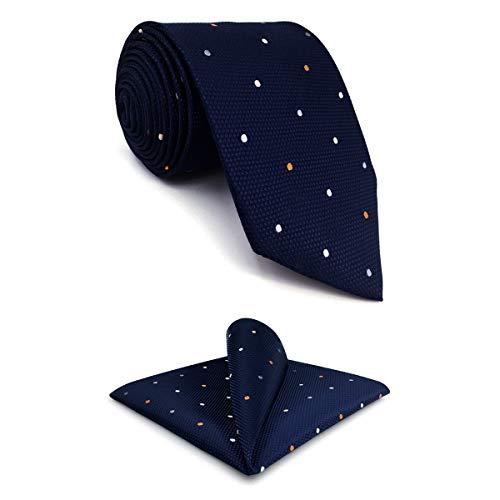 shlax&wing Puntos Azul Navy Corbatas Para Hombre Set Traje de negocios Seda Puntos Extra Largo 147cm 160cm