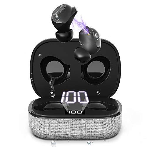 Auriculares inalámbricos, auriculares Bluetooth con micrófono, calidad de sonido HiFi, resistente al agua IPX7, hasta 30 horas de tiempo de juego con bolsa de carga rápida USB-C, para iOS/Android