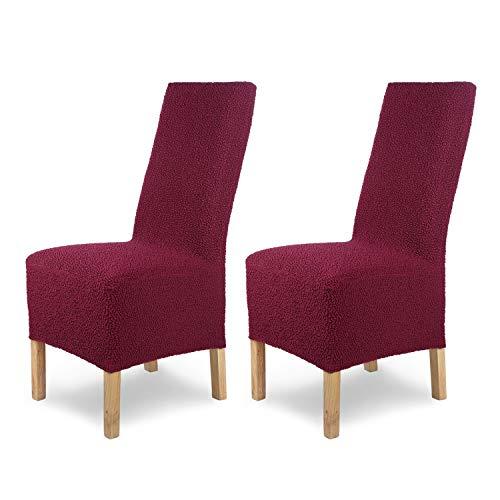 SCHEFFLER-Home Stretch Stuhlhusse Jacquard Lea | 2er Set elastische Stuhlabdeckungen | Stuhlhussen Schwingstühle | Spannbezug mit Gummiband | Elegante Stuhlbezüge, Rot