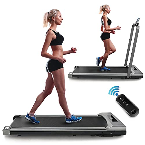Yoozoo Under Desk Treadmill 2 in 1 Walking Running Machine Compact Folding Treadmill for Home Office Installation-Free Portable Treadmill Electric Treadmill with LED Display Remote Control & Holder