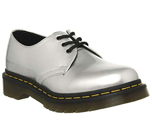 Dr.Martens Donna 1461 Vegan Chrome Paint Metallic Synthetic Silver Scarpe 42 EU