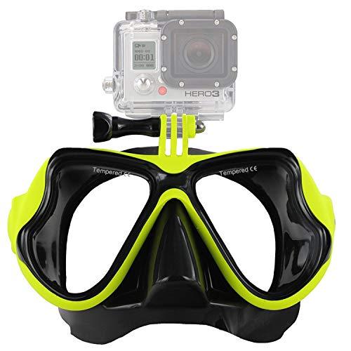 IXROAD Máscara Gafas de Buceo Snorkel Natación con Soporte para Cámara Deportiva (Amarillo)