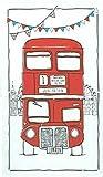Toalla esbozada con dibujo del autobús rojo de Londres para regalo