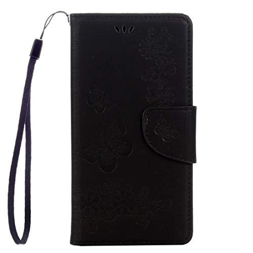 HUANGCAIXIA Accesorios para Celular For Sony Xperia XZ Power Mariposas Relieve Horizontal Flip Funda de Cuero con Soporte y Ranuras for Tarjetas y Billetera y cordón (Color : Black)