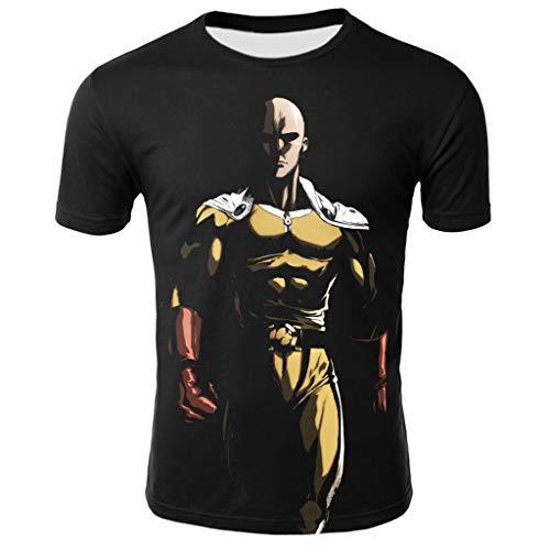 One Punch Man Teacher Saitama Anime Womes Mens 3D Print Unisex Tight Soft Smooth Polyester Short Sleeve T Shirt T0006HM XL