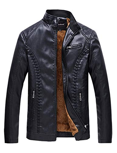 Firehood Men's Stand Collar Fur Lined Faux Leather Jackets Retro Coat Motorcycle Outerwear (X-Large, Black)