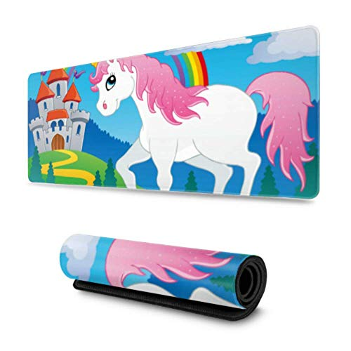 Fairy Tale Unicorn Theme Image 2 Vector Illustra Extra Large Gaming Mousepad 31.5x11.8 Inch Wide & Long Gaming Mouse Pad for Women for Computer/Laptop
