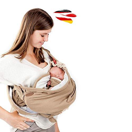 Lodger Shelter 2.0 - 3in1 Babytrage, Babytragetuch, Babysling sowie Transportdecke für Babys und Eltern, ab Geburt bis 18 Monate (max. 12kg)