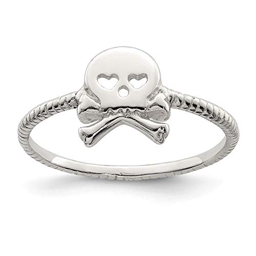 925 Sterling Silver Textured Skull Crossbones Band Ring Size 8.00 Fine Jewelry For Women Gifts For Her