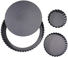 Tårta och quiche non-stick avtagbar lös botten tårtburkar set kolstål pajform 3 delar svart