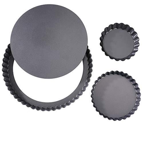 ISIYINER Tortenbodenformen Mit Eierkuchenform Non-Sticks Rund Quiche Tart Pfanne Kohlenstoffstahl Loose Bottom Quicheformen 3 Pack