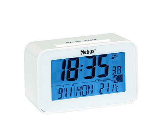 Funkwecker digital in weiss mit LCD-Anzeige von Uhrzeit, Kalender und Innentemperatur und Mondphase