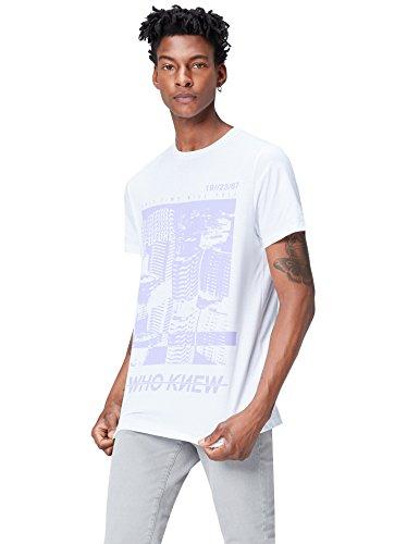 Marca Amazon - find. Camiseta con Estampado para Hombre, Blanco (White), M, Label: M