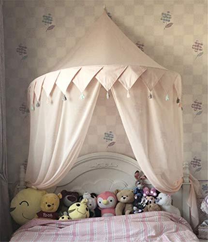 Hayisugal Betthimmel für Kinder Babys Bett Kuppel Hängende Moskiton für Schlafzimmer Kinderzimmer Spielzelte Deko…, Rosa+Quaste+Chiffon, S/110 * 50cm