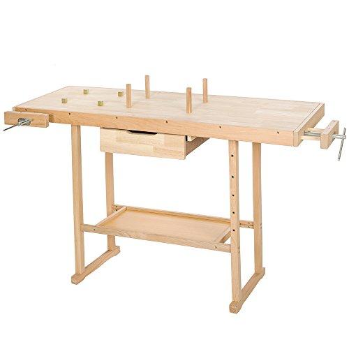 TecTake Banco de trabajo de madera con tornillos de banco - varios modelos - (Número 400915 (117x47.5x83cm))
