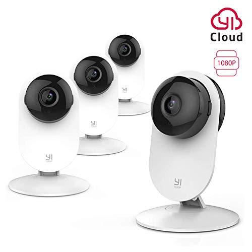 YI Überwachungskamera WLAN IP Kamera 1080P Sicherheitskamera Nachtsicht Bewegungsmelder 2-Wege-Audio für Home/Office/Haustier-Monitor mit iOS, Android App, YI Cloud Service(4 Stück 1080 P)