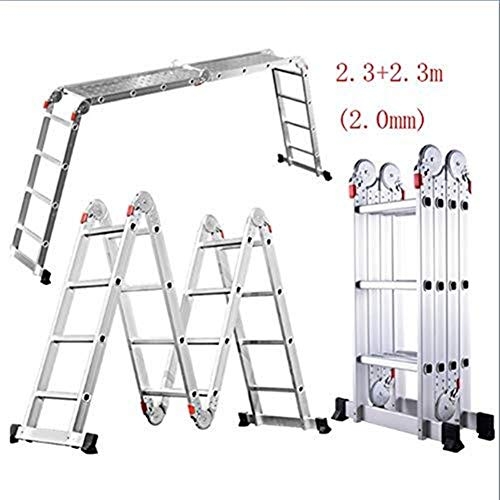 CKQ-KQ Ladder, Multifunctionele Huishoudelijke Ladder Folding Ladder, aluminium legering verdikking telescoopladder Techniek Ladder (Color : 2.3+2.3m(2.0mm))