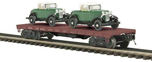 MTH 20-98449 O Scale 50-Ton 41' Wood Flat Car w/ 2 Ertl '32 Roadsters RD #471652