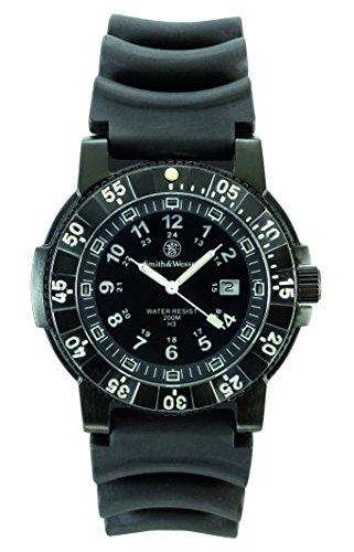 Smith & Wesson SWW-357-R - Reloj (Reloj de Pulsera, Masculino, Acero Inoxidable, Negro, Caucho, Negro)