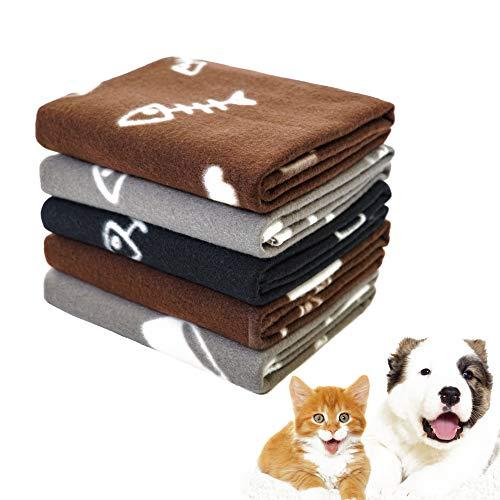 softan Haustierdecke Weich Wärme Hundedecke Waschbar Fleece Katzendecke Geeignet für Kleine Mittlere Hunde Welpen Katze Haustiere 5 Stück Braun Grau Schwarz 60×70 cm