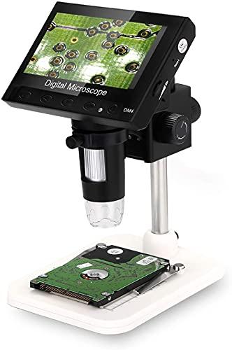 Microscopio digital, WADEO 1000 x 4,3 pulgadas con pantalla LCD electrónica de vídeo lupa de microscopio USB con 8 luces LED