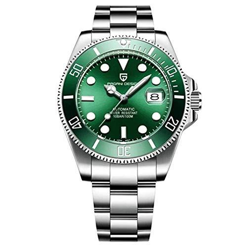 Pagani Design Automatik Submariner Homage Herren Designer-Armbanduhr NH35A Uhrwerk (Hulk Green)
