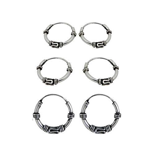 6 pendientes aros diseño bali plata de ley 2 aros 10mm diámetro exterior y 2 aros 12mm diámetro exterior y 2 aros 14mm diámetro exterior