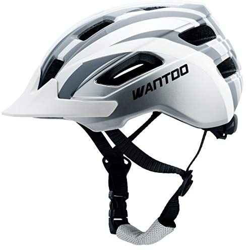 Wantdo Specialized Bike Helmet Safety Bicycle Helmet with Removable Visor Adjustable and Multi-Sports Helmet with Air Vents for Men and Women,for Road Mountain Skateboard BMX White Gray