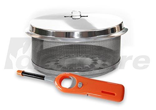FD Feuerdesign ® Ersatz-Kohlebehälter aus Edelstahl für Modelle Vesuvio u. MAYON - inklusive Stabfeuerzeug