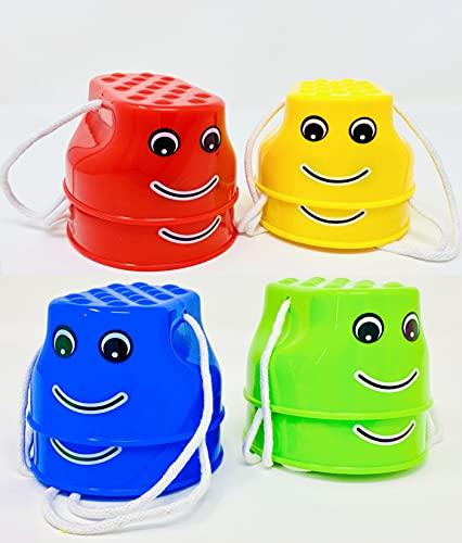 Minis Kreativ Juego de 4 zancos para exteriores, 4 pares, para niños, incluye sorpresa para exteriores, vasos para niños, juguete para exteriores