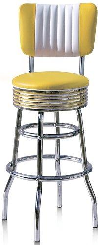 Bel Air Barhocker 2-er Set Gastronomie Barstuhl Hocker Bar Stuhl 50's Designerbarhocker Diner Hochstuhl (Yellow/White)