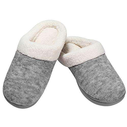HOMEIDEAS Women Slippers Memory Foam House Slippers Size 8 with Rubber Soles for Indoor and Outdoor-Grey