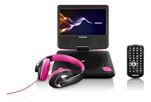 Lenco tragbarer DVD-Spieler DVP-754 17,5 cm (6,88 Zoll) TFT-Display, USB, inkl. Kopfhörer, Tasche, Fernbedienung - pink