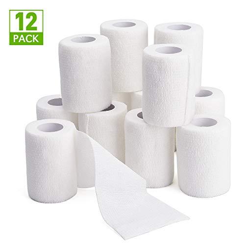 TOBWOLF 12 Stück Kohäsive Bandage Fixierbinde Selbsthaftend Elastisch (7.5cm*4.5m, Weiß)