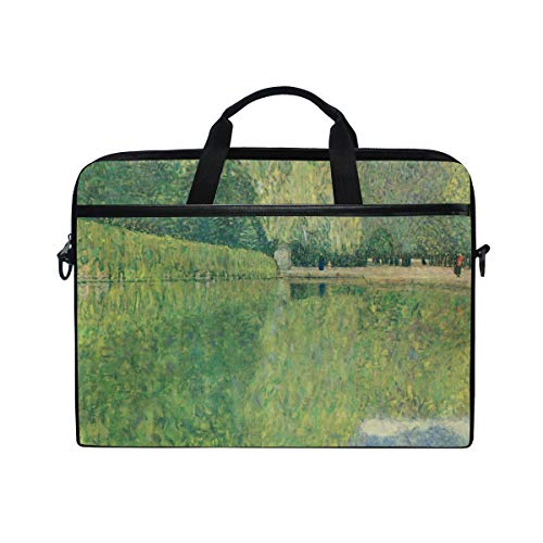 Ahomy 13.3-14 Inch Laptop Bag, Lake Attersee Gustav Klimt Multifunctional Fabric Waterproof Laptop Case Briefcase With Shoulder Strap