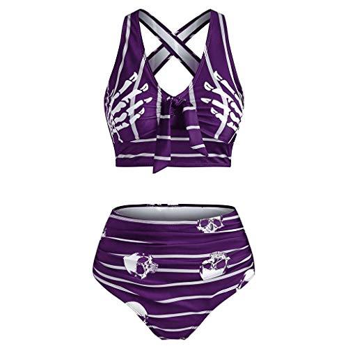 Conjunto de Bikini con Estampado de Rayas y Calavera con Cintura Alta para Mujer, Trajes de baño, Moda de Verano, Push-Up, Acolchado, Traje de baño Cruzado, Ropa de Playa