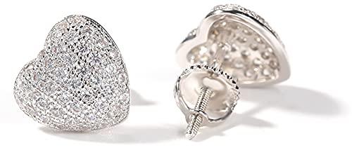 Hip-hop S925 Trend New Full Diamond Love Pendientes de diseño de estudiante Sense Creative Ear Jewelry Simple Fashion Style Ear Studs para hombres y mujeres, plata, Taille unique
