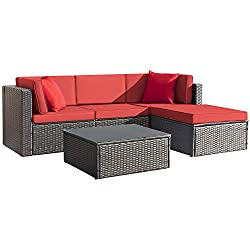 Modern & Comfortable: Modern design outdoor sectional sofa with High-quality thickened seat and back cushions take you more extraordinary comfort, enjoy your leisure time whatever sitting or lying, suitable for entertaining your neighbors or friends ...