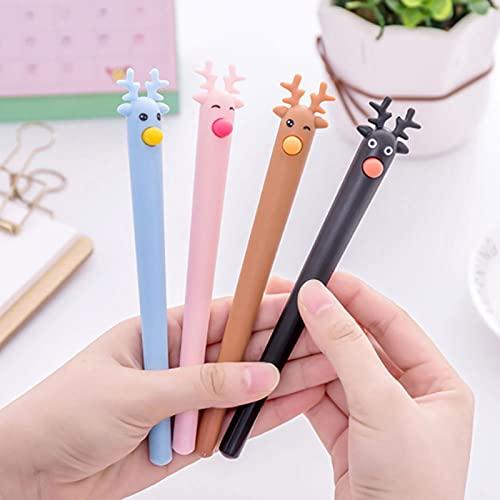 Bolígrafos de tinta de gel de Cactus y Alces de tinta negra, bolígrafos neutros de 0,5 mm Kawaii de tinta de gel para escuela, suministros de oficina, regalos para niños, 10 unidades, color al azar